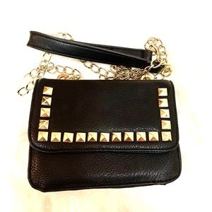 Black and Gold studded clutch